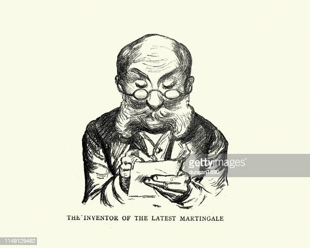 character sketch of man writing notes, monte carlo, 19th century - monte carlo stock illustrations, clip art, cartoons, & icons