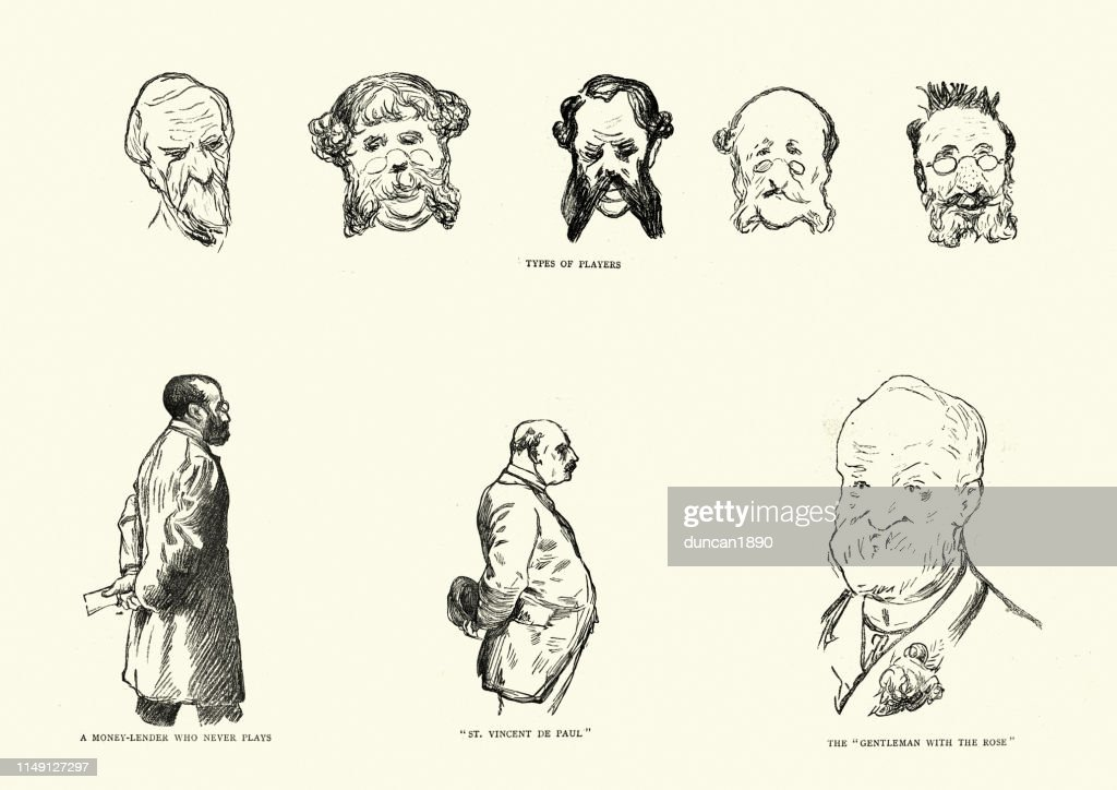 Character sketches of in a Monte Carlo casino, 19th Century : stock illustration
