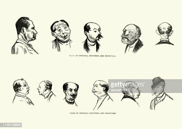 character sketches of in a monte carlo casino, 19th century - monte carlo stock illustrations, clip art, cartoons, & icons