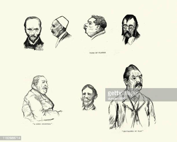 character sketches of monte carlo casino players, 19th century - monte carlo stock illustrations, clip art, cartoons, & icons