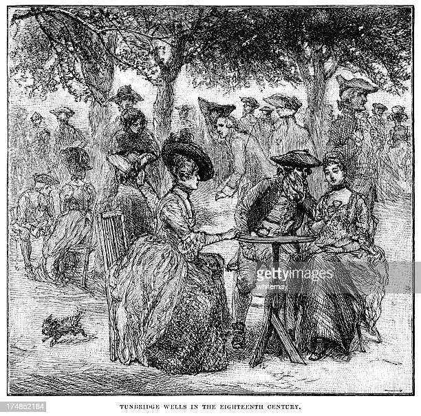 characters in eighteenth century tunbridge wells (victorian engraving) - sunday best stock illustrations, clip art, cartoons, & icons