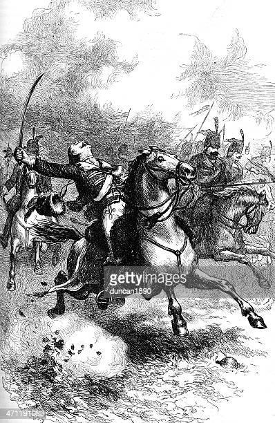 charge of casimir pulaski during the american revolution - savannah georgia stock illustrations, clip art, cartoons, & icons