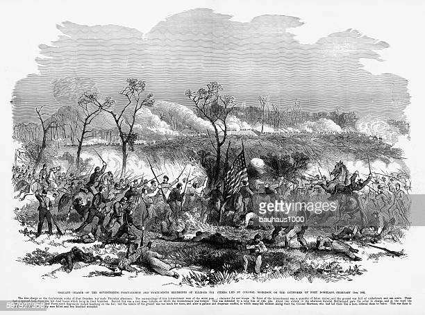 charge of regiments of illinois volunteers, 1862 civil war engraving - american civil war battle stock illustrations