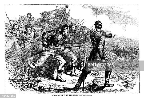 charge of the federals at corinth - civil war dead stock illustrations