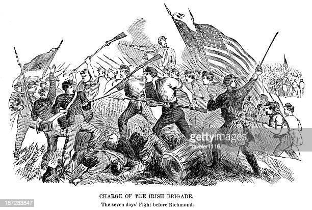 charge of the irish brigade - brigade stock illustrations