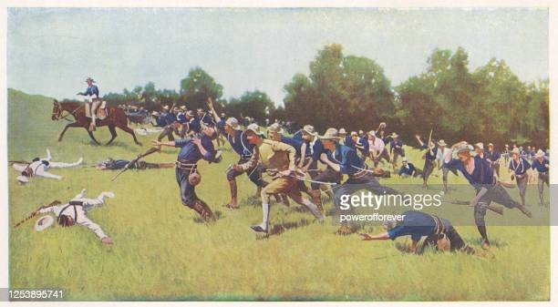 charge of the rough riders at san juan hill by frederic remington - 19th century - us military stock illustrations