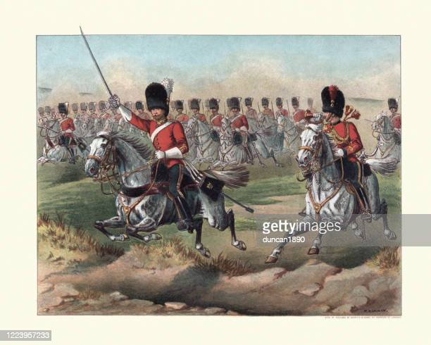 charge of the royal scots greys, 2nd dragoons, 19th century - british culture stock illustrations