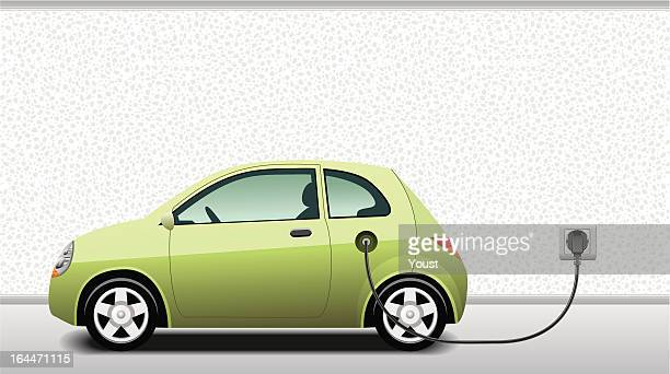 charging hybrid car - land vehicle stock illustrations