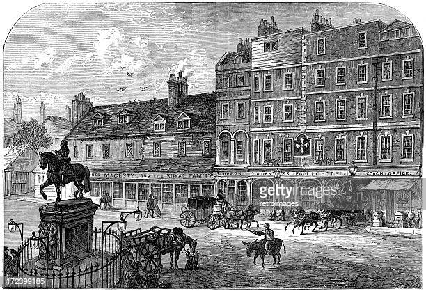 charing cross from northumberland house, 1750 (illustration) - overcast stock illustrations, clip art, cartoons, & icons