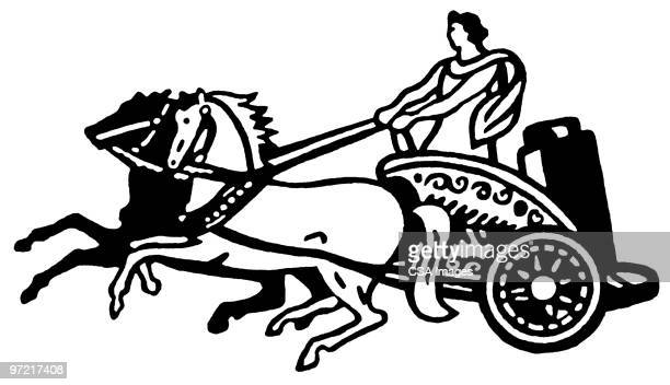 chariot - greek culture stock illustrations