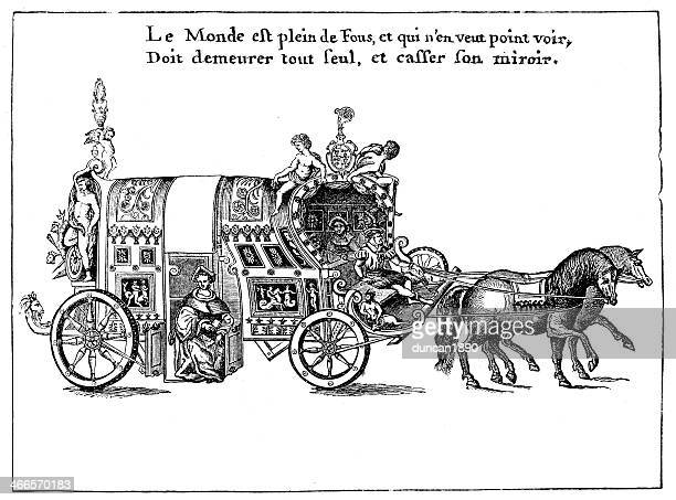 chariot of the mere folle - dijon stock illustrations, clip art, cartoons, & icons