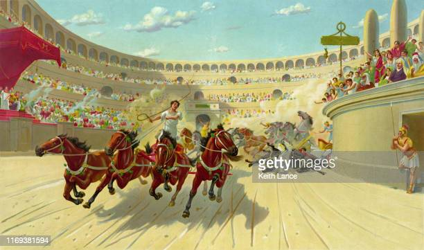 chariot race in ancient times - ancient greece stock illustrations