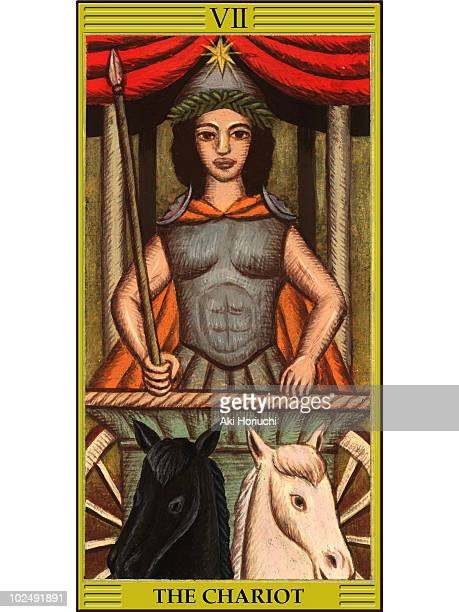 chariot tarot card - tarot cards stock illustrations, clip art, cartoons, & icons
