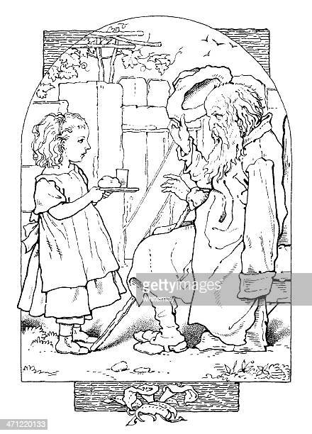 Charity - young girl bringing food to a beggar