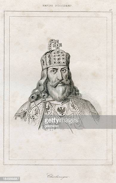 charlemagne, charles the great -  engraving, 1838 - circa 10th century stock illustrations