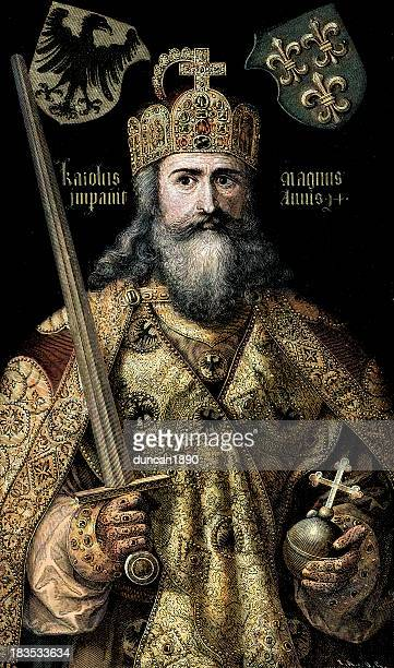 charlemagne - holy roman emperor stock illustrations