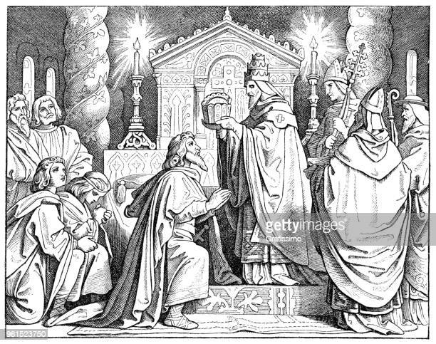 charlemagne or charles the great at his coronation - corona zon stock illustrations