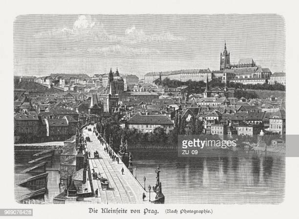 charles bridge and mala strana, prague, czech republic, published 1897 - prague stock illustrations, clip art, cartoons, & icons