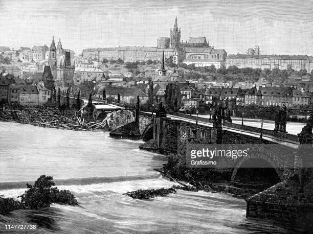 charles bridge in prague damage in 1890 - prague stock illustrations, clip art, cartoons, & icons