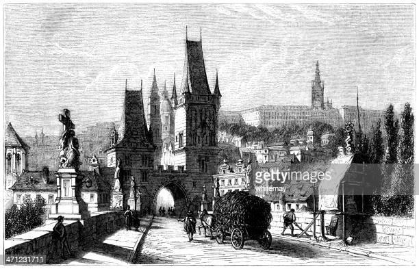 charles bridge, prague - 1875 engraving - prague stock illustrations, clip art, cartoons, & icons