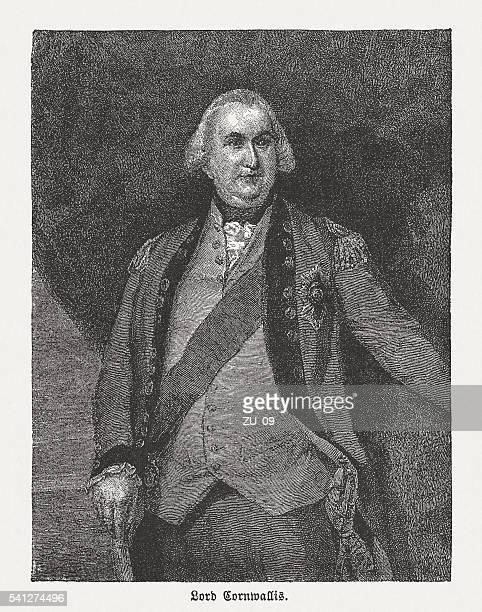 Charles Cornwallis (1738-1805), British general, wood engraving, published in 1884