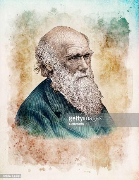 charles darwin wissenschaftler naturalist porträt - darwin stock-grafiken, -clipart, -cartoons und -symbole