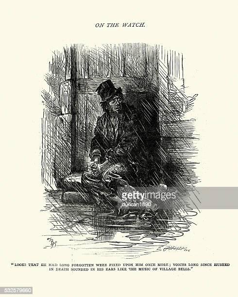 illustrations, cliparts, dessins animés et icônes de charles dickens croquis de boz démunis homme - vagabond
