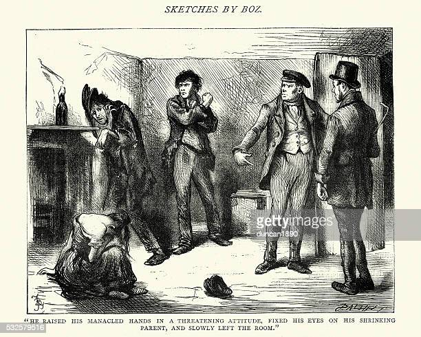 charles dickens sketches by boz he raised his manacled hands - run down stock illustrations, clip art, cartoons, & icons