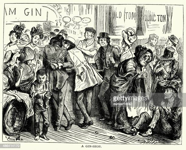 Vintage engraving of a scene from the Charles Dickens's novel Sketches by Boz. A Gin Shop.