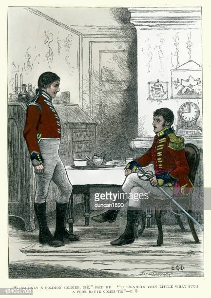 charles dickens - tale of richard doubledick - 19th century stock illustrations, clip art, cartoons, & icons