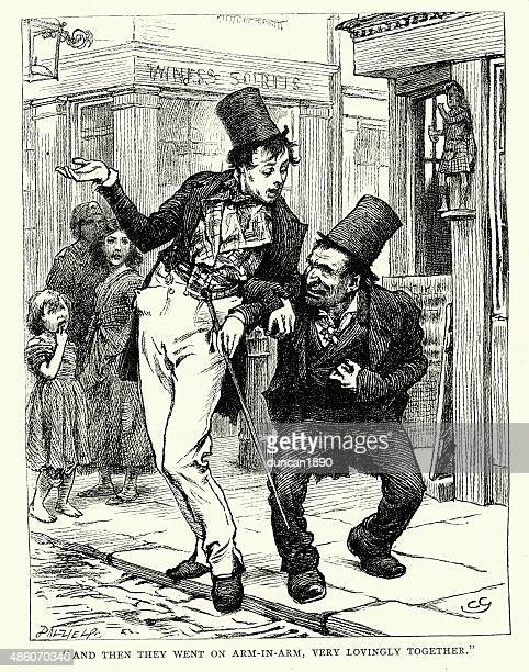 charles dickens - the old curiosity shop - arm in arm stock illustrations, clip art, cartoons, & icons