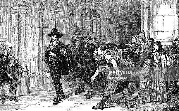 charles i leaving westminster hall - cavalier cavalry stock illustrations, clip art, cartoons, & icons