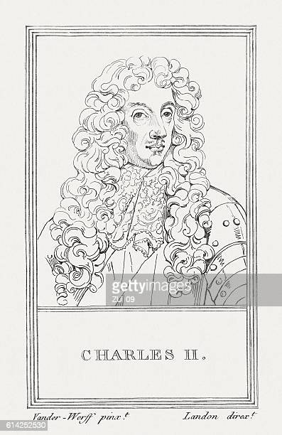 Charles II (630-1685), British king, copper engraving, published in 1805