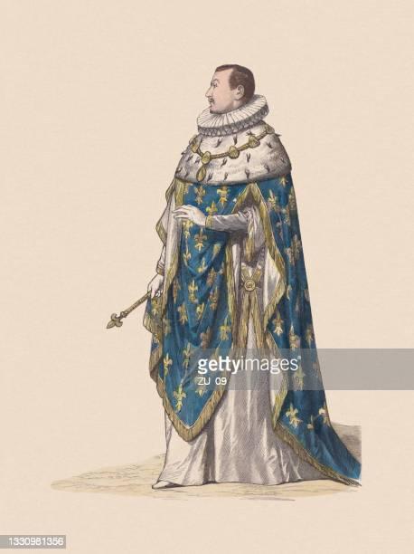 illustrations, cliparts, dessins animés et icônes de charles ix, roi de france (1550-1574), gravure sur bois colorée à la main, publiée vers 1880 - monarchie