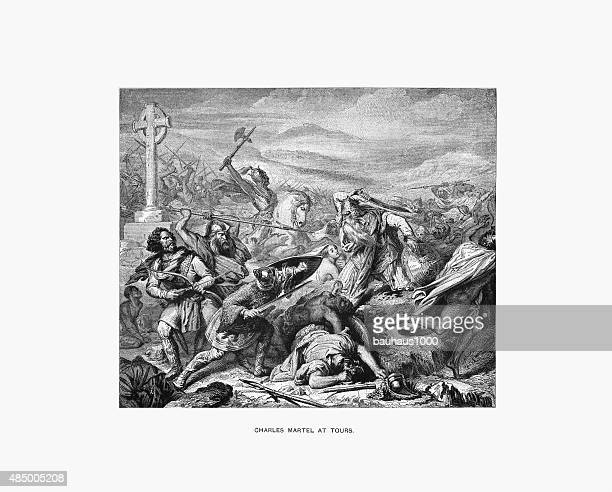 Charles Martel at the Battle of Tours Engraving