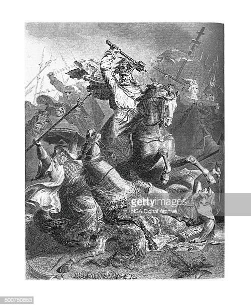 charles martel at tours, france (engraving after georg bleibtreu's painting) - tours france stock illustrations, clip art, cartoons, & icons