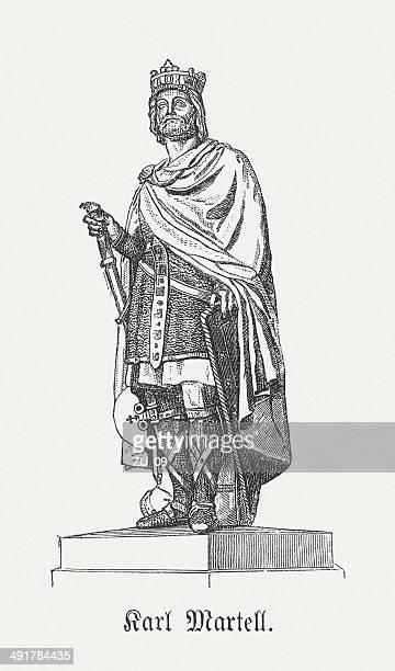Charles Martel (c.688-741), sculpture in Versailles, wood engraving, published 1881