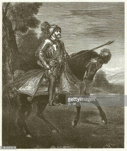 charles v at mühlberg, by tizian, wood engraving, published 1881 - tiziano vecellio stock illustrations, clip art, cartoons, & icons