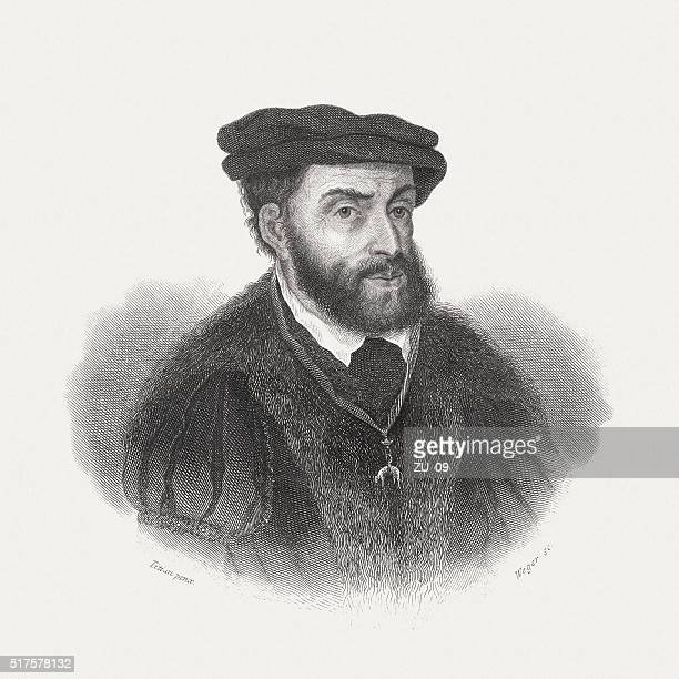 charles v (1500-1558), holy roman emperor, steel engraving, published 1868 - empire stock illustrations