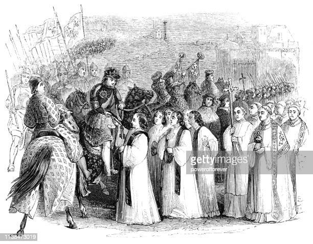 charles vii, king of france recapturing rouen, france - works of william shakespeare - hundred years war stock illustrations, clip art, cartoons, & icons