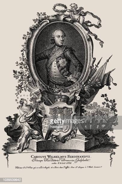 charles william ferdinand, duke of brunswick-wolfenbüttel - embellishment stock illustrations