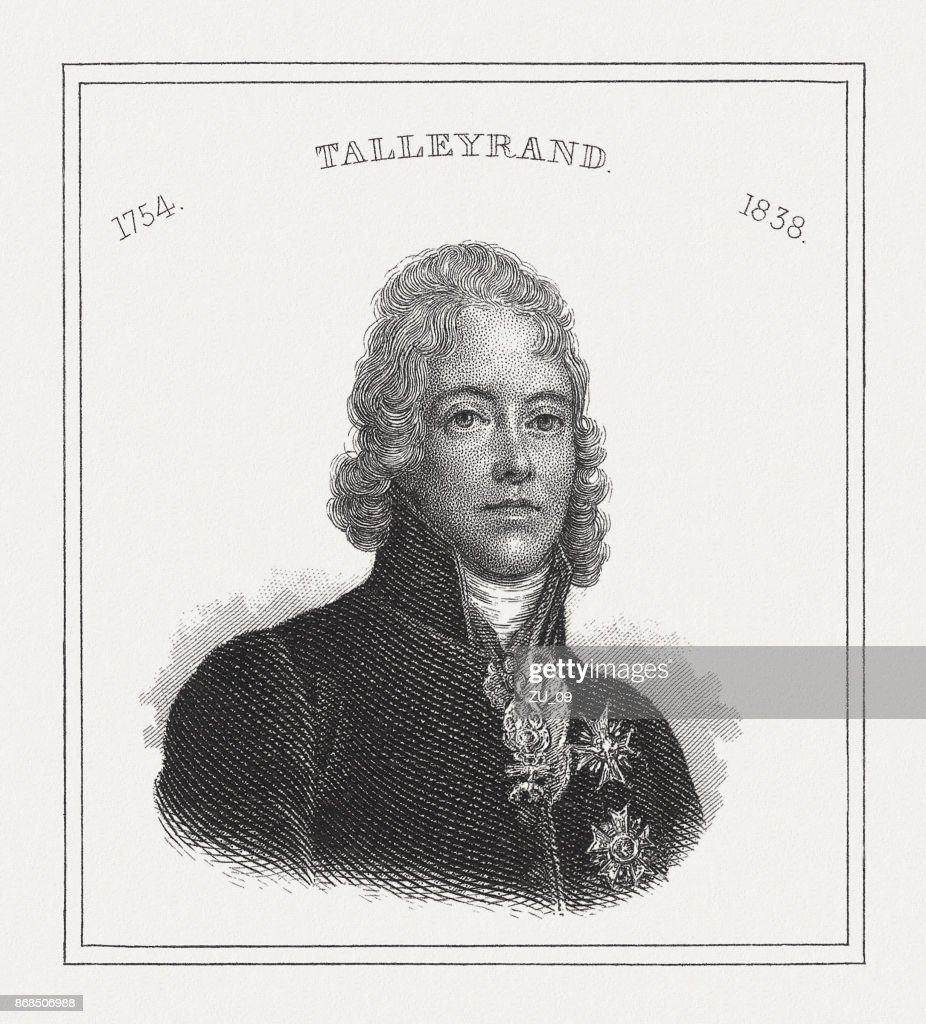 Charles-Maurice de Talleyrand-Perigord (1754-1838), homme d'État Français, de la gravure sur acier, publié 1843 : Illustration