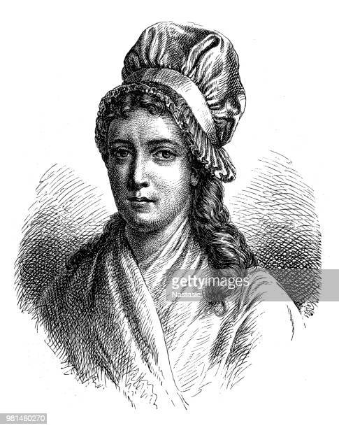 charlotte corday (1768 - 1793), figure of the french revolution, murderess of marat - bonnet stock illustrations, clip art, cartoons, & icons