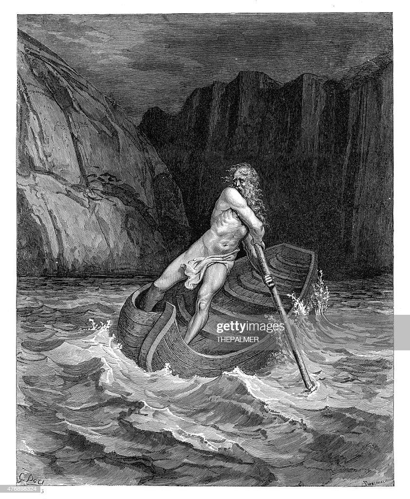 Charon the ferryman engraving : stock illustration