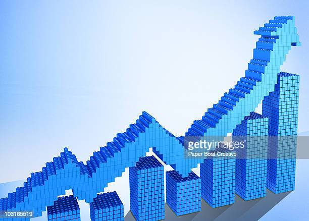 3D chart and arrow pointing upward