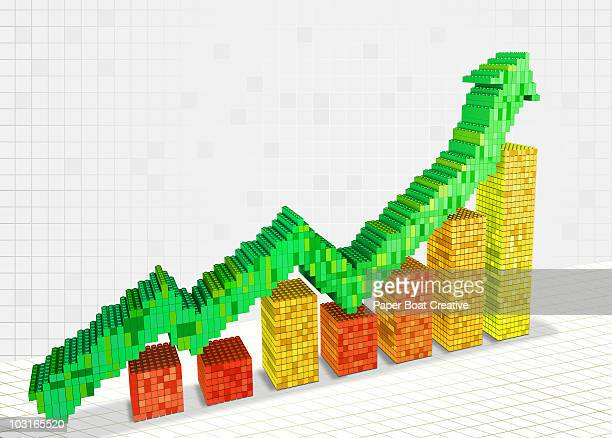 3d chart and arrow pointing upwards - instrument of measurement stock illustrations