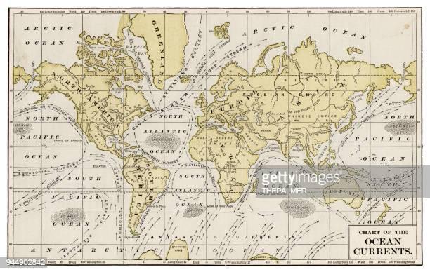 chart of ocean currents 1889 - tide stock illustrations, clip art, cartoons, & icons