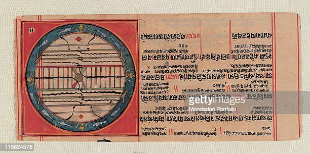 Italy, Lombardy, Milan, Private collection. Whole artwork. Chart drawing inscriptions globe; sphere earth; world lines; straight lines circle...