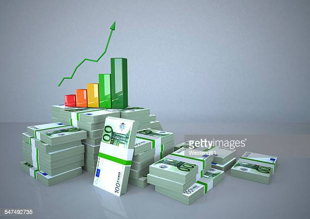 chart with ascending graph on stack of money bundles - european union euro note stock illustrations, clip art, cartoons, & icons