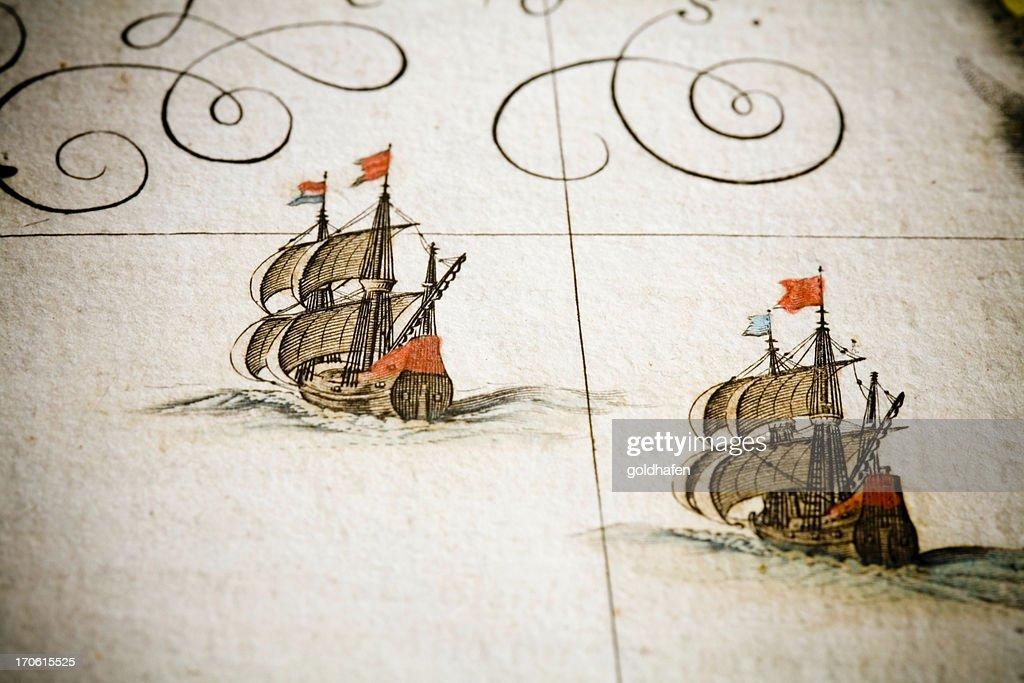 chasing ships : stock illustration